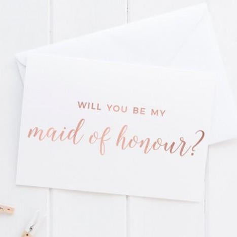 Will You Be My Maid Of Honour Rose Gold Card - littleweddingstore.co.nz