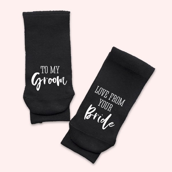 To My Groom Love From Your Bride Socks - littleweddingstore.co.nz