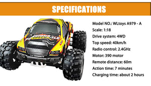 WLtoys A979 4WD RC Monster Cars Vehicle Car