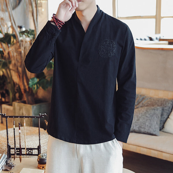 Mens Spring Vintage Style Cotton Linen Shirt