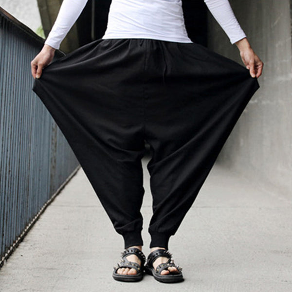 Men's Casual Cotton Linen Baggy Loose Harem Pants