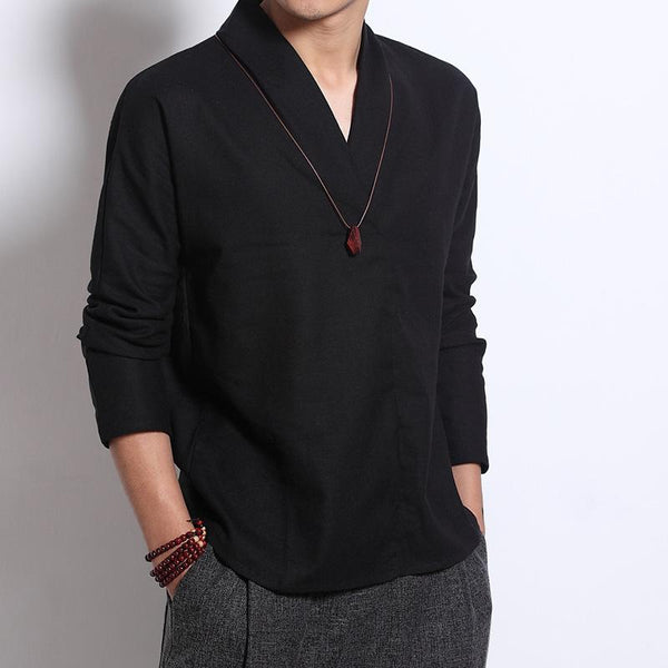Men's V neck Casual Style Cotton Linen Shirts