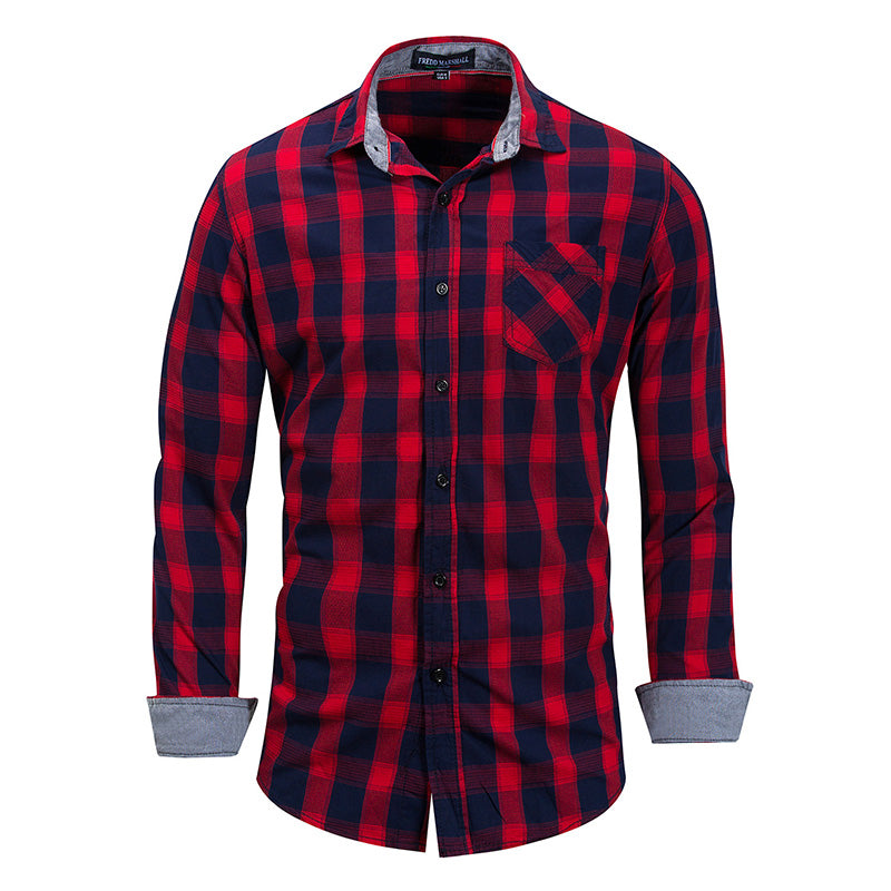 Men's Cotton Casual Long-sleeved Plaid Shirt