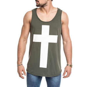 Men's Casual Loose Vest Digital Printed Cross Vest