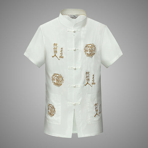 Ethnic men's summer middle-aged men's short-sleeved Tang suit men's Chinese style layman Dalong Chinese style Hanfu