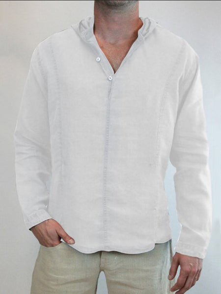 Men's Linen Long Sleeve Hooded T-Shirts