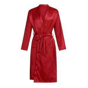 Men's Solid Color Robe Cardigan Nightgown Loose Long Sleeve Robe