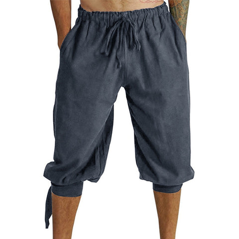 Chinese Style Casual Cropped Shorts Men's Elastic Waisted Travel Pants
