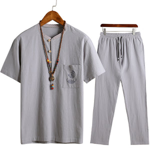 Men's Casual Short-sleeved T-shirt Suit Large Size Comfortable Loose Two-piece