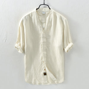 Chinese Style Seven-point Sleeves Shirt Men's Stand Collar Loose Shirts
