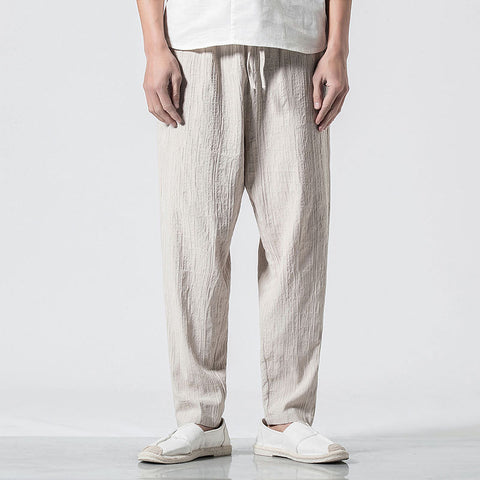 Chinese Style Men's Casual Cotton Linen Feet Pant
