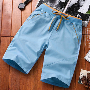 Daily Drawstring Beach Casual Solid Shorts