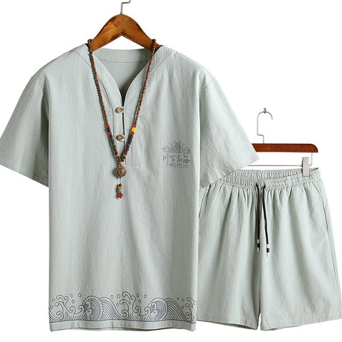 Men's Chinese Style Short-sleeved V-neck T-shirt + Shorts Cotton Linen Suits Sets