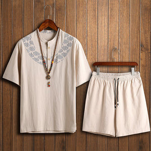 Chinese Style Short-sleeved T-shirt + Shorts SetsMen's Casual Printing Cotton Linen Two-piece
