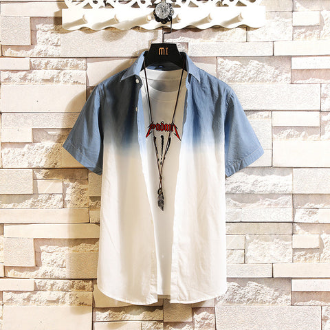 Men Ombre Cotton Shirts & Tops