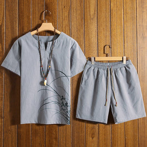 Chinese Style Printed Cotton Linen Short-sleeved T-shirt + Shorts Men's Casual Two-piece