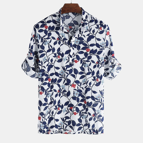 Men's Fashion Floral Printed T-Shirt Short Sleeve Casual Lapel Tops