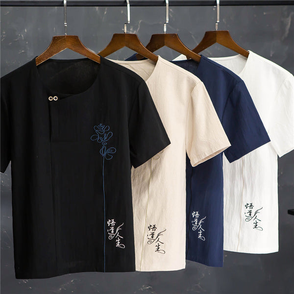 Chinese Style Breathable Cotton Embroidery Crew Round Short-Sleeved T-shirt Shorts Casual Two-piece