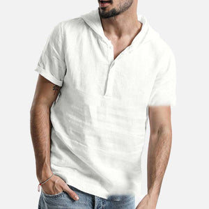 Men's Solid Color Cotton Short Sleeve Hooded Shirt Tops