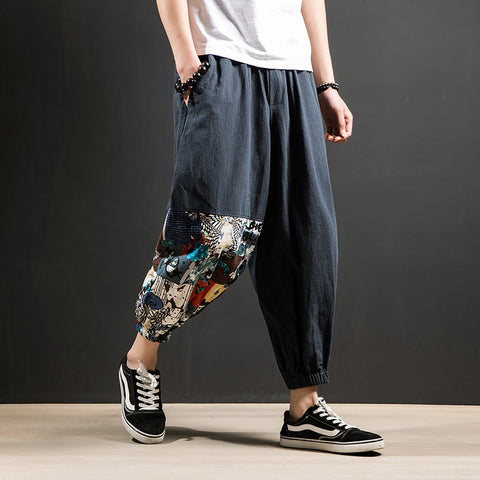 Casual Loose Harem Pants Men's Fashion Chinese Style Breathable Trousers