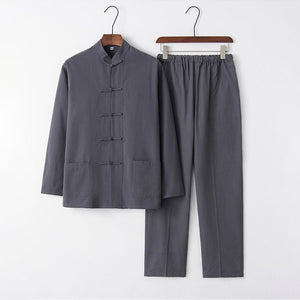 Casual Men's  Tang Suits Long Sleeve Tops & Pants Two-Pieces Chinese Style
