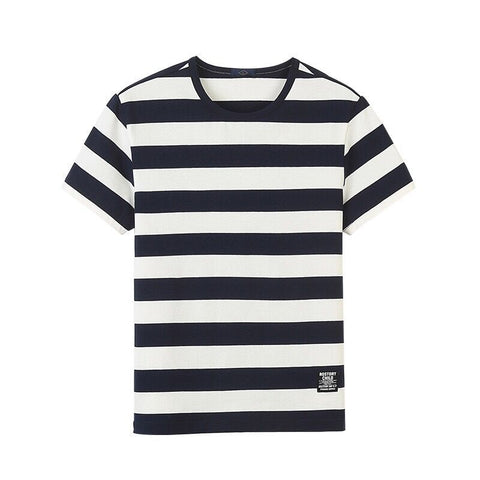 Men's Casual Striped Round Neck Loose Short Sleeve T-Shirts