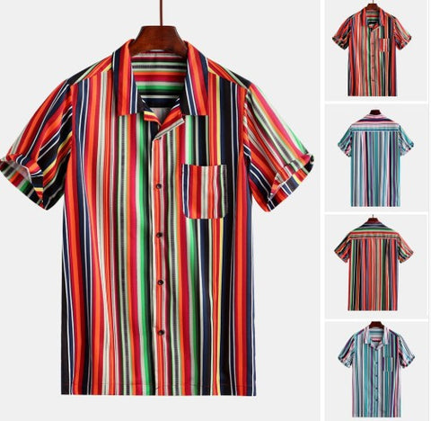 Men's Casual Lapel Loose Print Short Sleeve Shirts