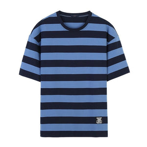 Men's Round Neck Casual Striped Loose T-Shirts