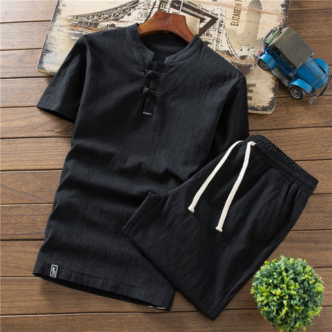Men's Cotton Linen Short-sleeved T-shirt Shorts Summer Casual Outdoor Sports Set