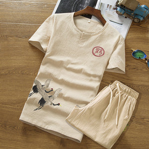 Chinese Style Cotton Linen Casual Tang Suit Men's Short-sleeved T-shirts Shorts Two-piece Sets