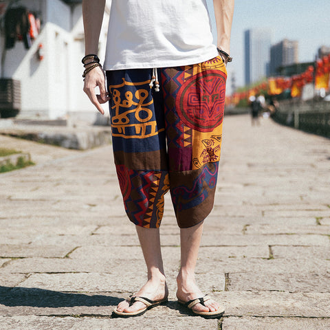 Chinese Style Men's Casual Cotton Linen Cropped Shorts Loose Harem Pants