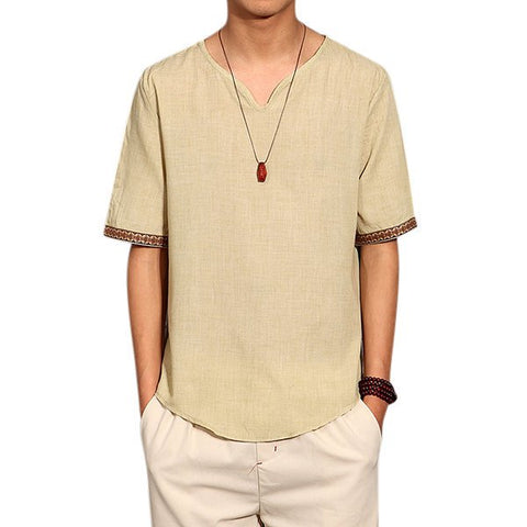 Chinese Style Summer Linen Solid Color Short Sleeve T-shirt V-neck Top Tee