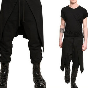 geartom Black Cotton-Blend Casual Bottoms