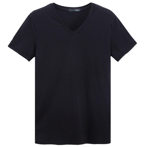 Men's Casual V-Neck Solid Sports T-shirt