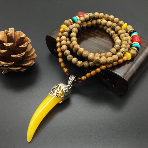 Ethnic Style Retro Wooden Beads Long Necklace Cotton Unisex Clothes Chain Pendant