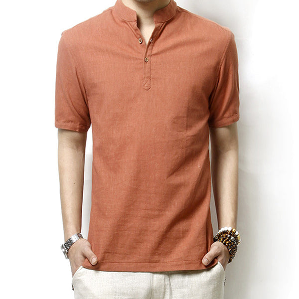 Summer Loose Style Paneled Solid Linen T-Shirts for Men