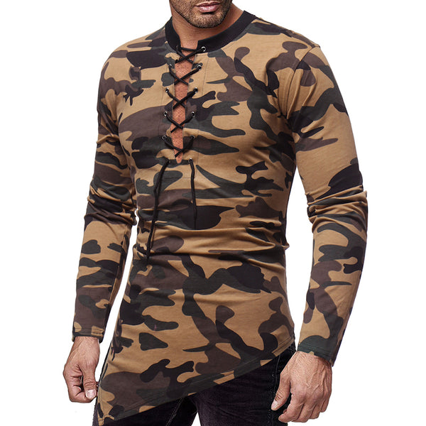 Men's Camouflage Chest Tether Neckline Irregular Hem T-shirt