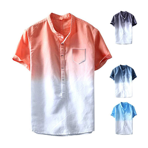 Men's Shirts Dip-dye Stand Collar Buttoned Casual Shirts