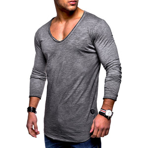 Spring New Men's Solid Color V-neck T-Shirt