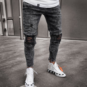 Men's Black Casual Hole-Breaking Denim Pants
