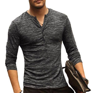 Buttons Design Slim Fit V-neck T-Shirts