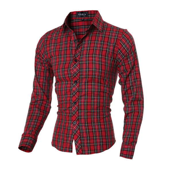 Men's Plaid Casual Long Sleeve Dress Shirt