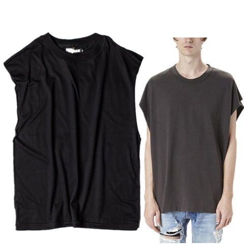 Retro Anti-wearing Tailoring Loose Tops Men's Solid Color Sleeveless Tees