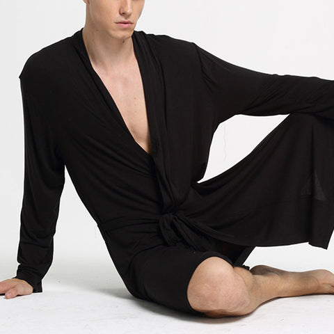 Black Large Size Modal Pajamas Bathrobes Men's Casual V-neck Loungewear