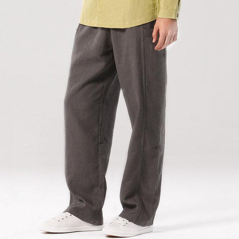 Men Cotton Linen Straight Leg Pants with Side Pockets