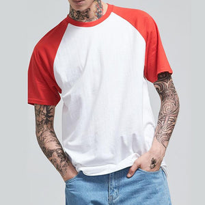 Men's Contrast Stitching Round Neck Raglan Sleeve T-Shirt