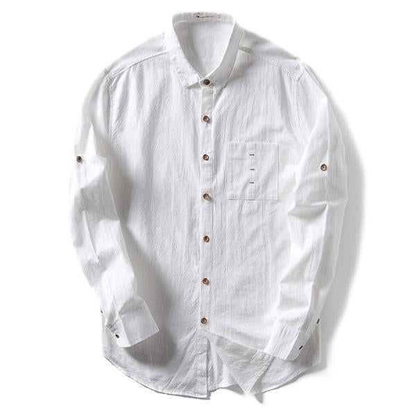 Men's Turn-Down Collar Linen Casual Long Sleeve Shirts