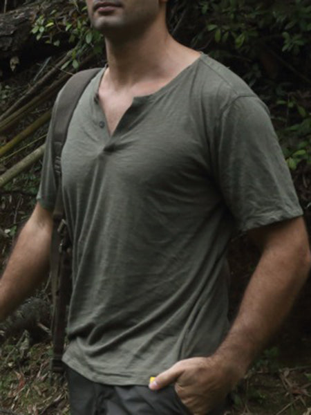 Men Casual V-neck Cotton Short Sleeve Outdoor Travel T-shirts