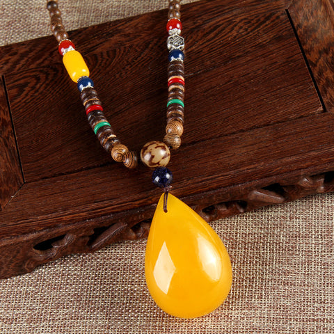 Unisex Chicken Wings Wooden Beads Pendant Imitation Beeswax Necklace Long Necklace