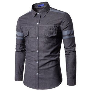 Denim Pockets Casual Men's Shirts